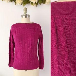 Diane VonFurstenberg Vintage Sweater Magenta Cable